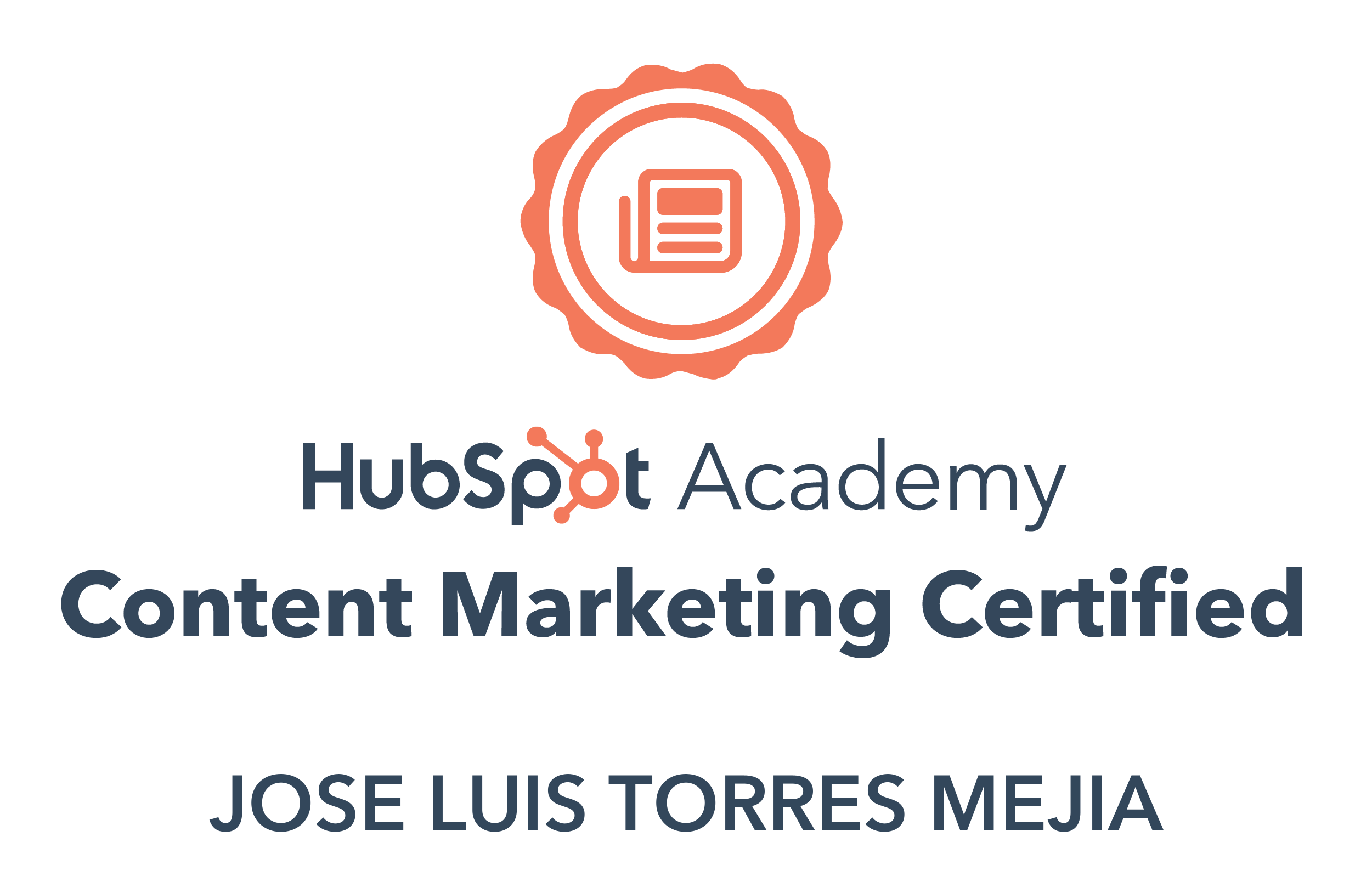 Jose Luis Torres Mejia  Content Marketing Certified
